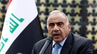 عادل عبد المهدي خلال خطاب ألقاه في بغداد، في 23 أكتوبر/تشرين الأول 2019.