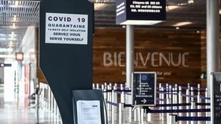 An information board for travellers at Orly Airport pictured ahead of the airport's reopening on June 23, 2020.