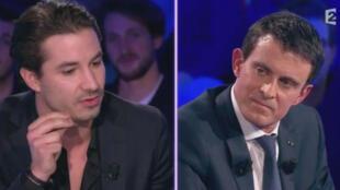 """De gauche à droite, Jérémy Ferrari et Manuel Valls lors de l'émission """"On n'est pas couché"""", diffusée samedi 16 janvier sur France 2."""