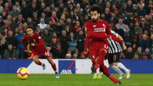 Salah a obtenu et transformé un penalty (48e) pour son 12e but de la saison, le 26 décembre 2018.