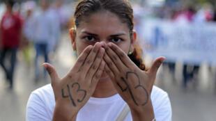 Manifestation  à Acapulco, le 19 novembre 2014, en soutien aux 43 étudiants mexicains enlevés dans le Guerrero.