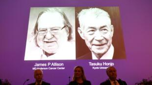 Los Premios Nobel de Medicina y Fisiología 2018 son James P. Allison (EE. UU.) y Tasuku Honjo (Japón), presentados en el Instituto Karolinska en Estocolmo, Suecia, el 1 de octubre de 2018.