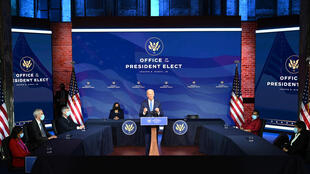 US President Joe Biden, with Vice President Kamala Harris, introduces nominees to his incoming administration on December 11, 2020, in Wilmington, Delaware.