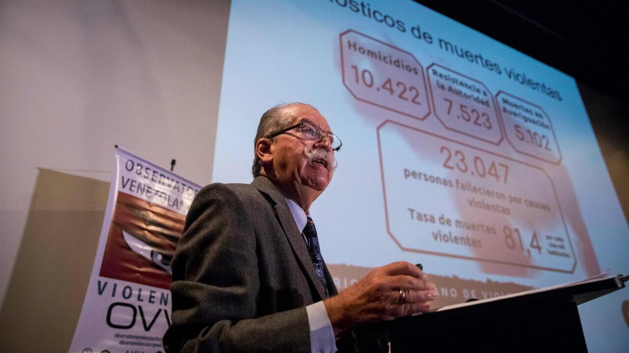 El Observatorio Venezolano de Violencia presentó en Caracas la cifra de homicidios registrados en Venezuela durante el año 2018. 27 de diciembre de 2018.