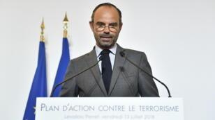 Édouard Philippe a dévoilé au siège de la DGSI à Levalllois-Perret son plan d'action contre le terrorisme vendredi 13 juillet.