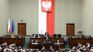 Le président polonais Andrzej Duda devant le Parlement, à Varsovie, le 12 novembre 2015.