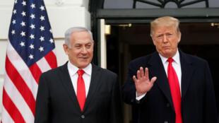 El presidente de Estados Unidos, Donald Trump, recibe al primer ministro israelí, Benjamin Netanyahu, en la Casa Blanca en Washington, EE. UU., el 25 de marzo de 2019.
