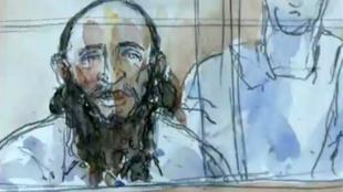 Abdelkader Merah esquissé durant son procès aux assises de Paris, le 2 octobre 2017.