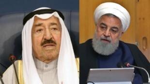 الرئيس الإيراني حسن روحاني - أمير الكويت الشيخ صباح الأحمد الجابر الصباح.