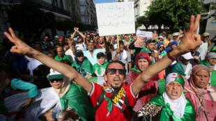 Des manifestants massivement rassemblés, dans les rues d'Alger, pour le 28e vendredi de mobilisation, en Algérie, le 31 août 2019.