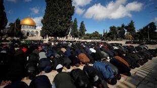فلسطينيون يقيمون صلاة الجمعة في باحة المسجد الأقصى، 31 كانون الثاني/يناير 2020.