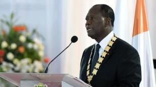 Le président ivoirien Alassane Ouattara lors de son investiture pour un second mandat, le 3 novembre, à Abidjan.