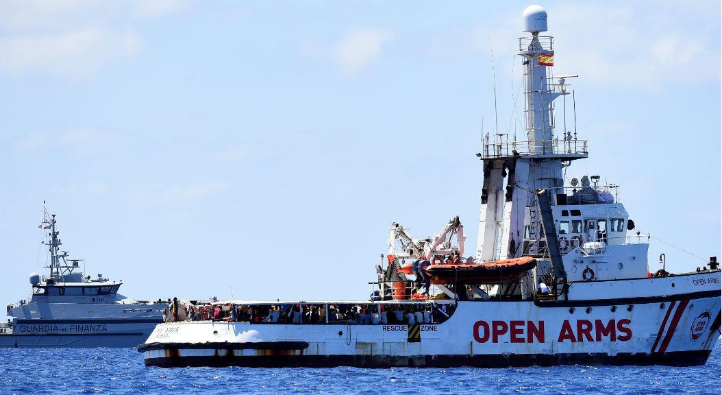 Archivo-Barco humanitario Open Arms, frente a las costas de Lampedusa, el 16 de agosto de 2019.