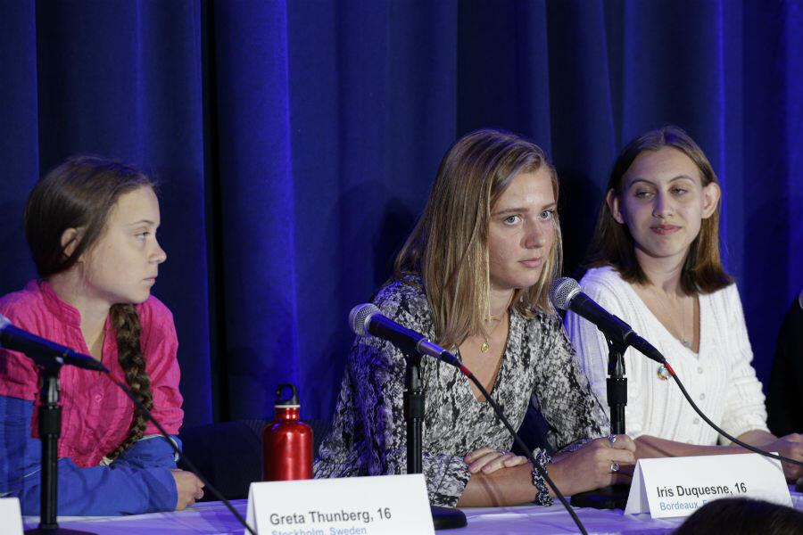 La jeune militante bordelaise Iris Duquesne, 16 ans, à New York pour le sommet de l'ONU en faveur du climat, le 23 septembre 2019.