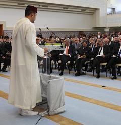 La grande mosquée de Strasbourg a été inaugurée ce jeudi en présence du ministre de l'Intérieur Manuel Valls, du ministre marocain des Affaires islamiques Ahmed Taoufiq, et de nombreux dignitaires religieux. (Crédit : P. Lafitte)