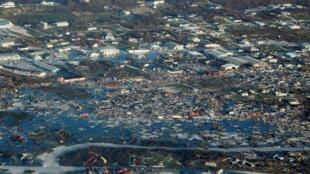 مشهد جوي يظهر الدمار الذي لحق بجزر أباكو في جزر الباهاما بعد مرور إعصار دوريان. 4 سبتمبر/أيلول 2019.