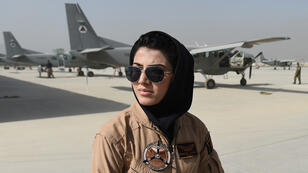 Afghan pilot Niloofar Rahmani poses for a photograph at an Air Force airfield in Kabul on April 26, 2015