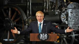 El primer ministro británico, Boris Johnson, durante un discurso sobre prioridades nacionales en el Museo de Ciencia e Industria de Manchester, Reino Unido, el 27 de julio de 2019.