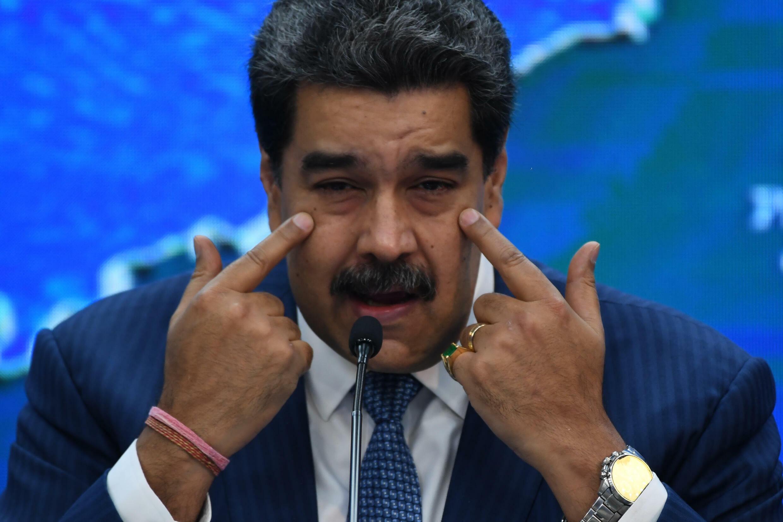 El presidente de Venezuela, Nicolás Maduro, habla durante una rueda de prensa con corresponsales de medios internacionales en el Palacio Presidencial de Miraflores, en Caracas, el 16 de agosto de 2021.