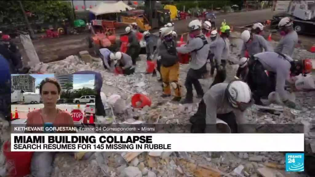 2021-07-02 16:05 Search resumes for 145 missing in rubble of Florida condo