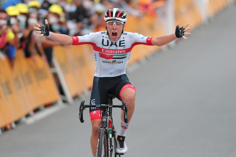 Slovenia's Tadej Pogacar won his first Tour de France stage aged 21