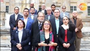 Algunos defensores del Acuerdo de paz se pronunciaron este martes 12 de marzo de 2019 en Bogotá, Colombia, en defensa de la JEP.