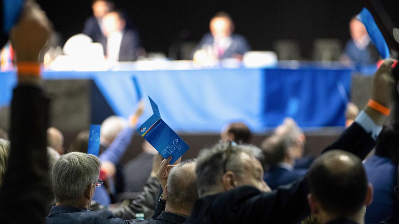 Los delegados del partido de extrema derecha Alternativa para Alemania (AfD) votan en la reunión del partido para decidir el programa electoral y elegir candidatos antes de las elecciones europeas.