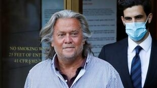 Former White House Chief Strategist Steve Bannon exits the Manhattan Federal Court, following his arraignment hearing for conspiracy to commit wire fraud and conspiracy to commit money laundering, in the Manhattan borough of New York City, New York, U.S. August 20, 2020.