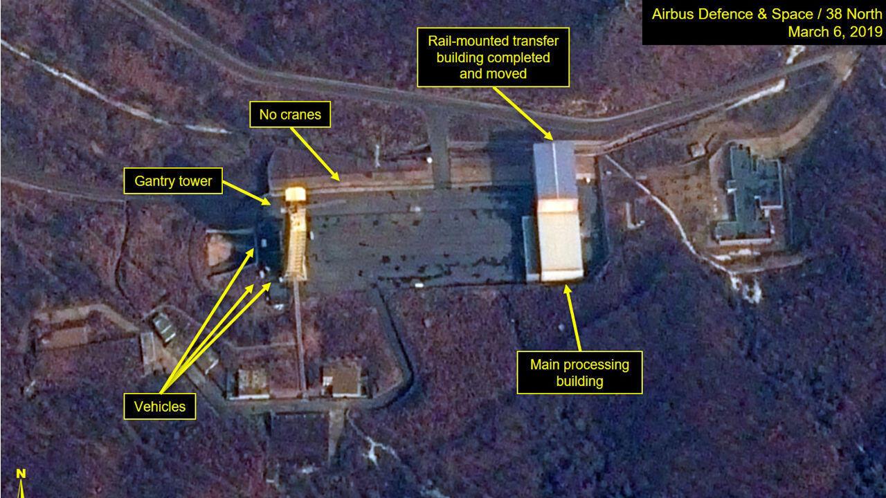 Imagen satelital de la estación de lanzamiento satelital de Sohae, Corea del Norte.