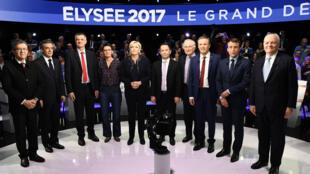 Les onze candidats à l'élection présidentielle ont débattu pendant quatre heures, mardi 4 avril 2017, sur BFM TV et CNEWS.