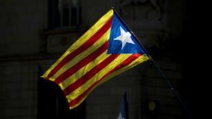 L'Estelada, le drapeau indépendantiste catalan, le 16 septembre 2017 à Barcelone.