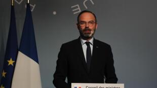 Le Premier ministre Edouard Philippe s'exprime lors d'une conférence de presse, le 25 mars 2020, à Paris.