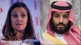 À gauche, Chrystia Freeland, ministre canadienne des Affaires étrangères. À droite, le prince héritier saoudien Mohammed ben Salmane
