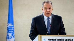 Le chef de la diplomatie russe Sergueï Lavrov s'est adressé au Conseil des droits de l'homme de l'ONU, le 28 février 2018 à Genève.