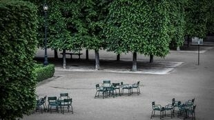 Like the city's other gardens and parks, the Jardin du Palais Royal in central Paris has been shut since the start of the lockdown.