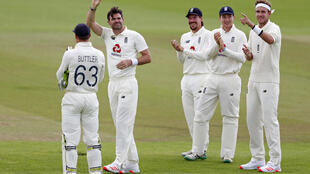 England's James Anderson celebrates after taking his 600th Test wicket