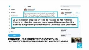 2020-05-27 14:00 Covid-19 : 750 milliards d'euros pour relancer une économie européenne exsangue