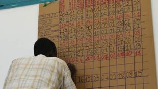 Les premiers décomptes des voix sont répertoriés dans les bureaux de vote, lundi 26 octobre, comme ici à Cocody.