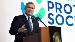 El presidente Iván Duque se pronuncia frente a las medidas tomadas por dos altas cortes en Bogotá, Colombia el 29 de mayo de 2019.