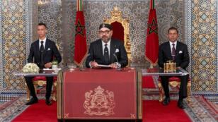 El rey Mohamed VI en el discurso por los 20 años de su reinado en Tetuán, Marruecos, el 29 de julio de 2019.