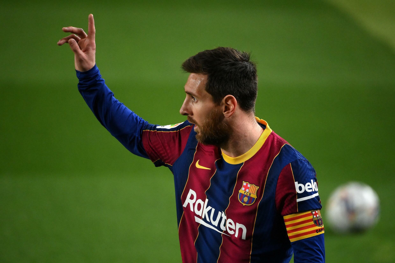 Lionel Messi le 24 février 2021 avec le Barça en Liga contre Elche CF au Camp Nou de Barcelone