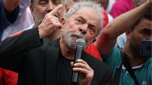 Luiz Inacio Lula da Silva addresses supporters in Sao Bernardo do Campo, Brazil, on November 9, 2019.