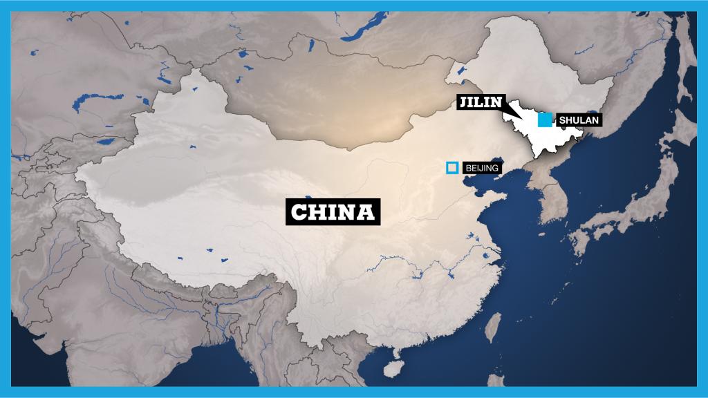 Mapa de la ciudad de Shulan en la provincia china de Jilin.