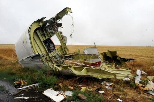 Un débris de l'appareil du vol MH17, abattu par un missile au-dessus de l'Ukraine, un crash qui a coûté la vie à 298 personnes. Photo prise le 9 septembre 2014 dans le village de Hrabove
