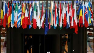 Banderas de los países miembros de la Unión Europea. 10 de noviembre 2017