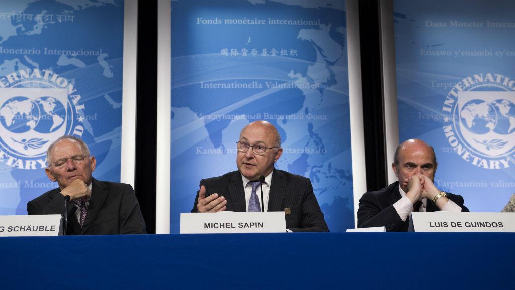 Les ministres des Finances allemand, français et espagnol, jeudi 14 avril 2016, lors d'une conférence de presse à Washington.