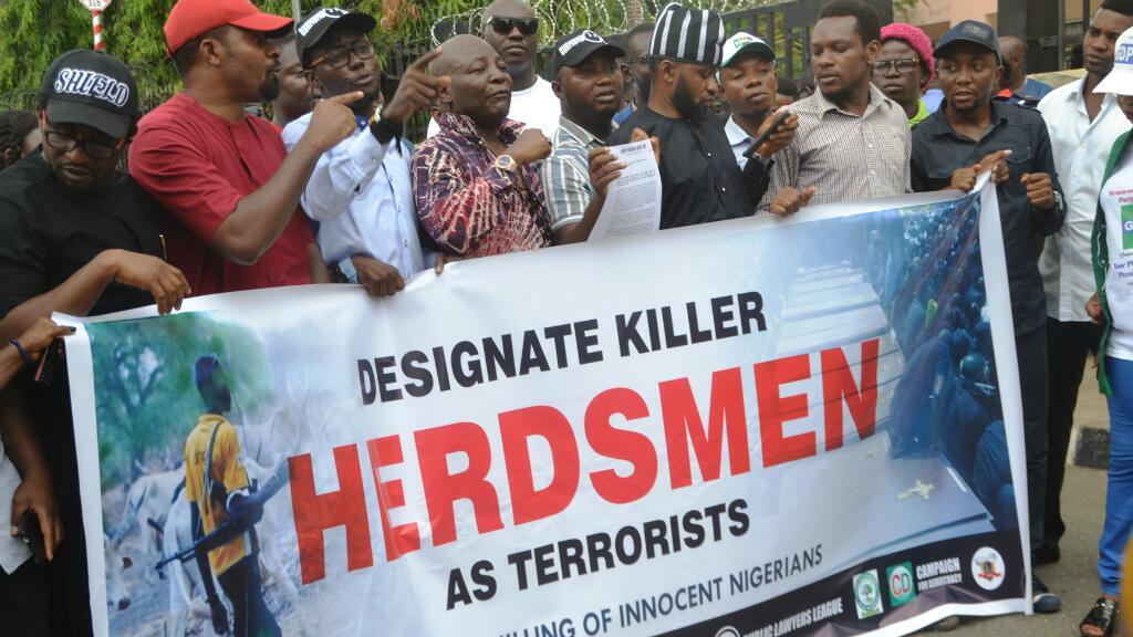 Manifestation contre le bain de sang en cours dans le centre du Nigeria, organisée à Abuja, le 14 mars 2018.
