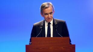 Bernard Arnault au siège de LVMH, le 29 janvier 2019, à Paris.