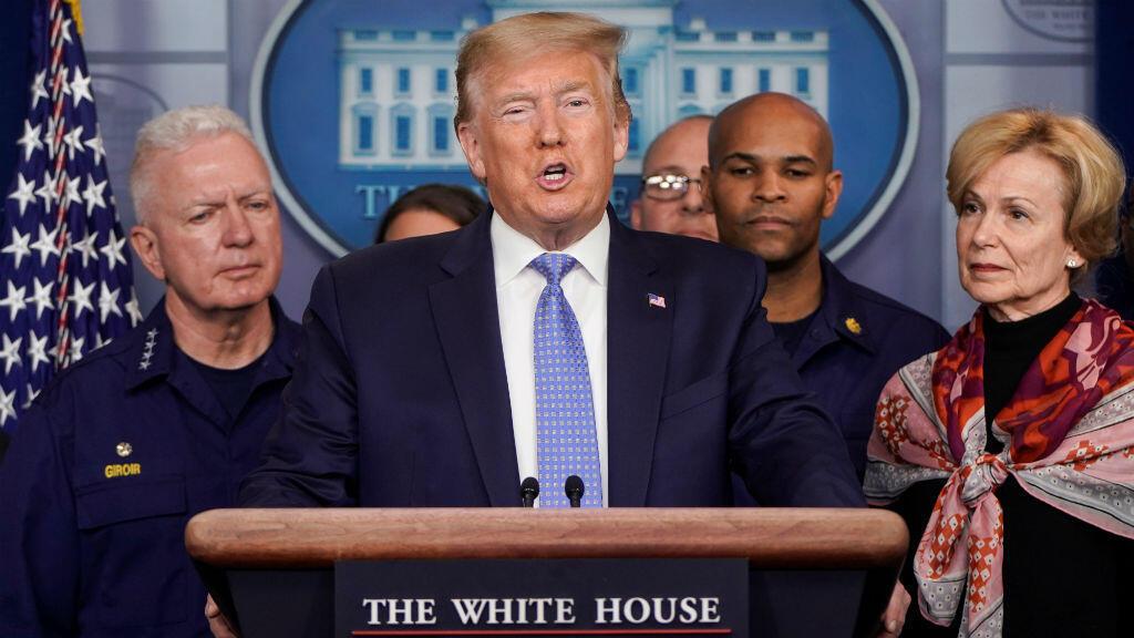 El presidente de Estados Unidos, Donald Trump, habla durante una conferencia de prensa sobre la respuesta de su Administración al coronavirus en la Casa Blanca en Washington, EE. UU., el 15 de marzo de 2020.