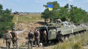 Un char de l'armée ukrainienne dans la région de Donestk dans l'Est.